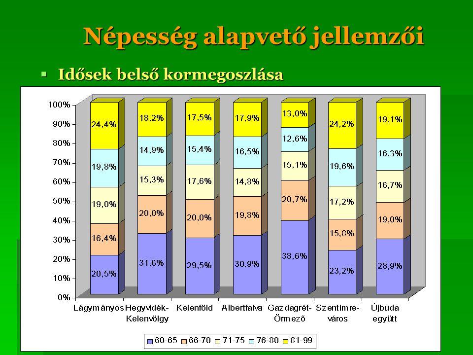 Népesség alapvető jellemzői  Idősek belső kormegoszlása