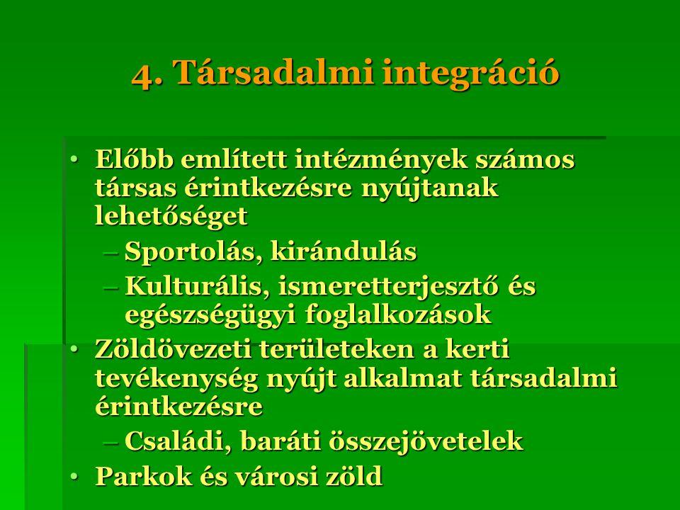 4. Társadalmi integráció Előbb említett intézmények számos társas érintkezésre nyújtanak lehetőséget Előbb említett intézmények számos társas érintkez