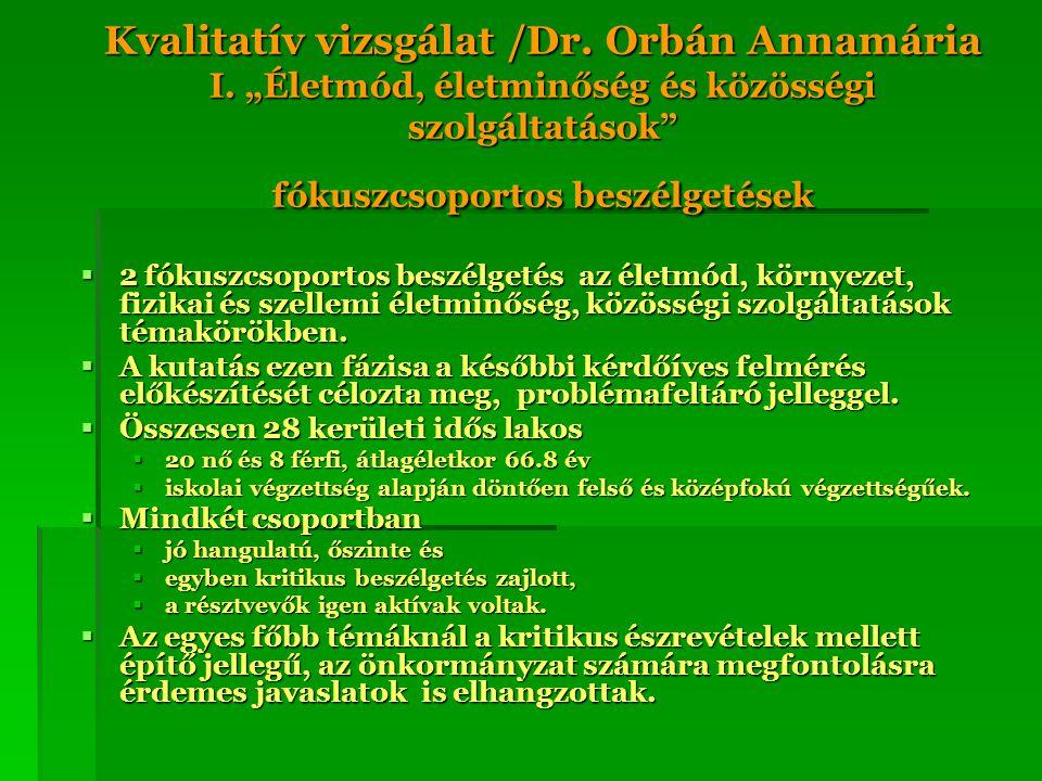"""Kvalitatív vizsgálat /Dr. Orbán Annamária I. """"Életmód, életminőség és közösségi szolgáltatások"""" fókuszcsoportos beszélgetések  2 fókuszcsoportos besz"""