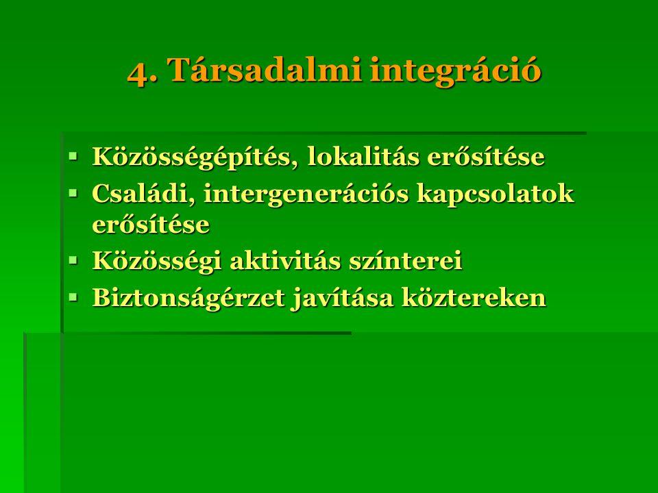 4. Társadalmi integráció  Közösségépítés, lokalitás erősítése  Családi, intergenerációs kapcsolatok erősítése  Közösségi aktivitás színterei  Bizt