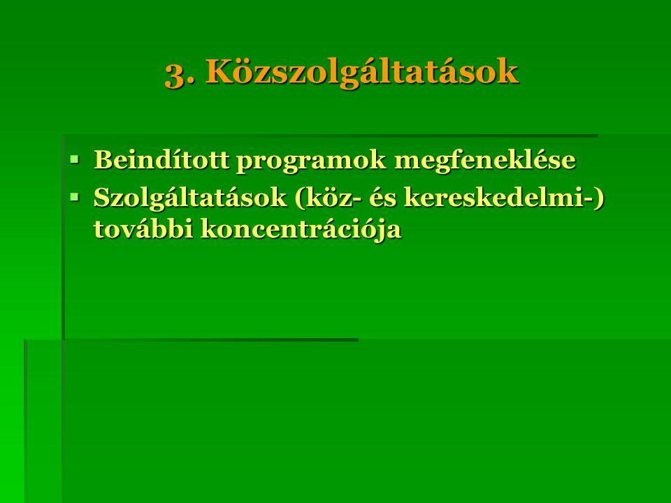 3. Közszolgáltatások  Beindított programok megfeneklése  Szolgáltatások (köz- és kereskedelmi-) további koncentrációja