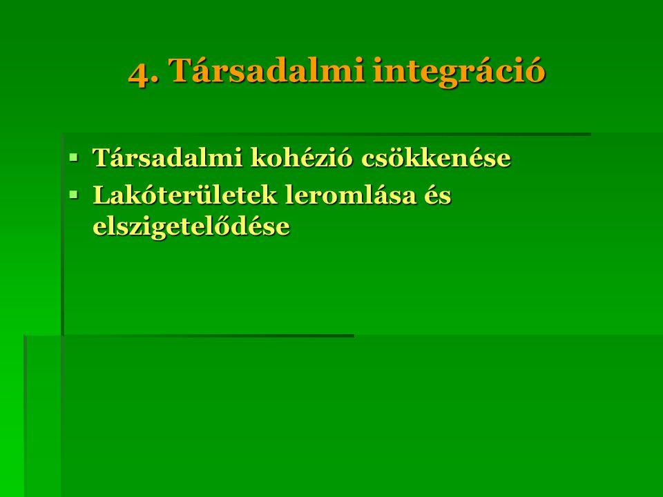 4. Társadalmi integráció  Társadalmi kohézió csökkenése  Lakóterületek leromlása és elszigetelődése