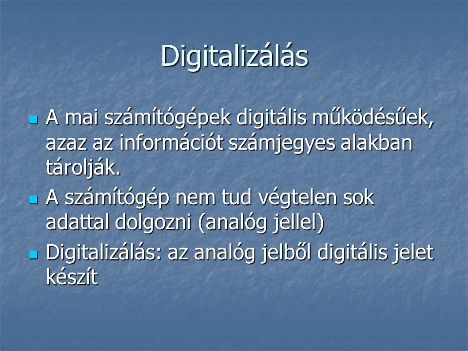 Digitalizálás A mai számítógépek digitális működésűek, azaz az információt számjegyes alakban tárolják. A mai számítógépek digitális működésűek, azaz