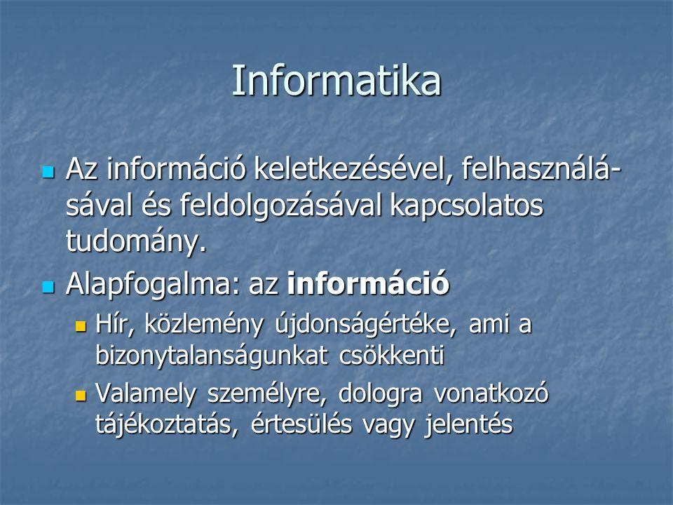 Adat fogalma Az információ formális alakja Az információ formális alakja Tények, fogalmak feldolgozására alkalmas jelsorozat Tények, fogalmak feldolgozására alkalmas jelsorozat Objektív, a feldolgozótól független Objektív, a feldolgozótól független A számítógépben: információ nélküli jelsorozatként tárolódik A számítógépben: információ nélküli jelsorozatként tárolódik
