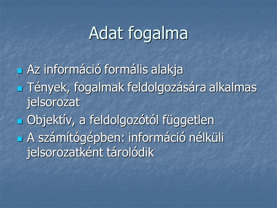 Adat fogalma Az információ formális alakja Az információ formális alakja Tények, fogalmak feldolgozására alkalmas jelsorozat Tények, fogalmak feldolgo