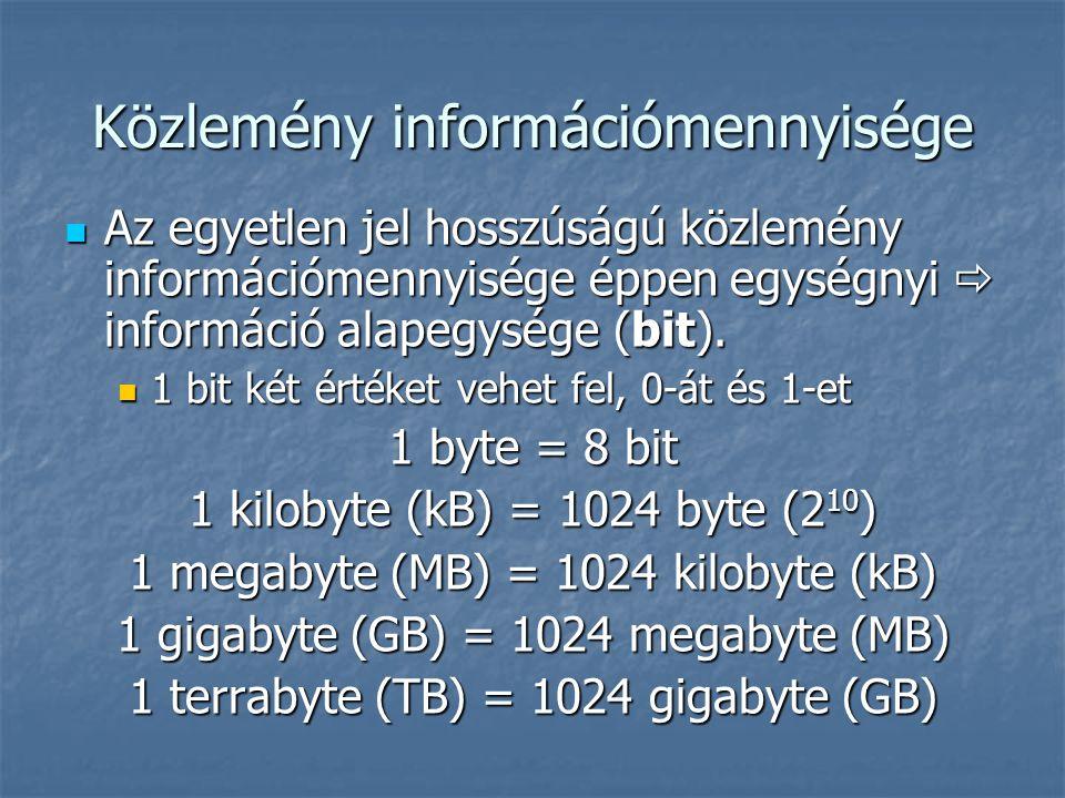 Közlemény információmennyisége Az egyetlen jel hosszúságú közlemény információmennyisége éppen egységnyi  információ alapegysége (bit). Az egyetlen j