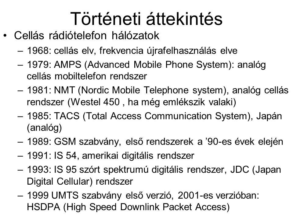 Történeti áttekintés Cellás rádiótelefon hálózatok –1968: cellás elv, frekvencia újrafelhasználás elve –1979: AMPS (Advanced Mobile Phone System): ana
