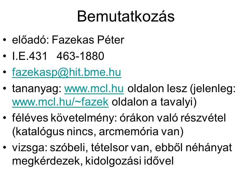 Bemutatkozás előadó: Fazekas Péter I.E.431 463-1880 fazekasp@hit.bme.hu tananyag: www.mcl.hu oldalon lesz (jelenleg: www.mcl.hu/~fazek oldalon a taval