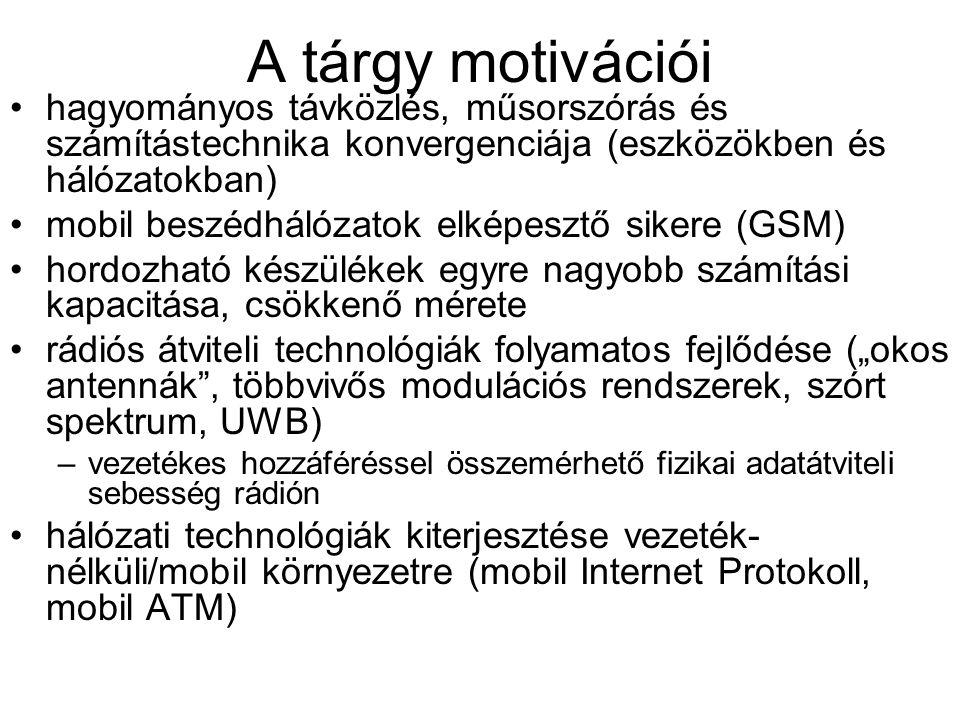 A tárgy motivációi hagyományos távközlés, műsorszórás és számítástechnika konvergenciája (eszközökben és hálózatokban) mobil beszédhálózatok elképeszt