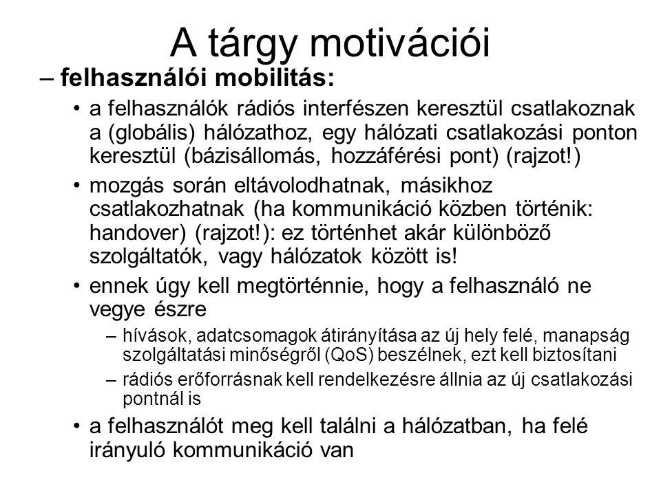 A tárgy motivációi –felhasználói mobilitás: a felhasználók rádiós interfészen keresztül csatlakoznak a (globális) hálózathoz, egy hálózati csatlakozás