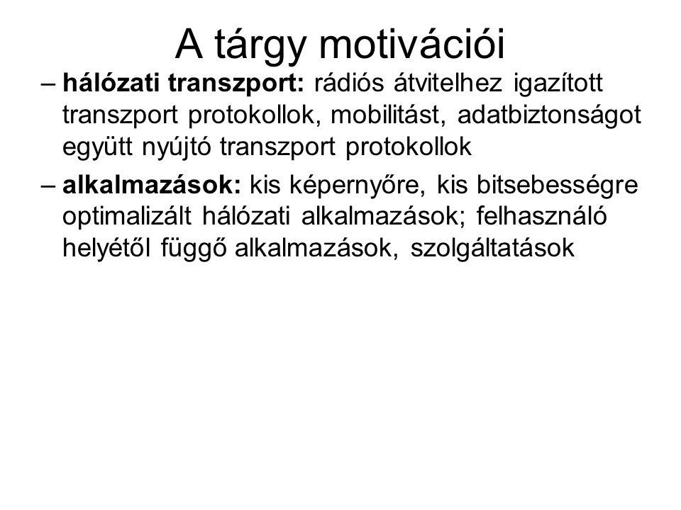 A tárgy motivációi –hálózati transzport: rádiós átvitelhez igazított transzport protokollok, mobilitást, adatbiztonságot együtt nyújtó transzport prot