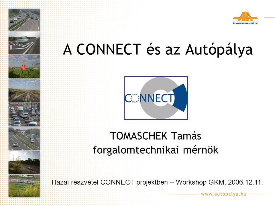 A CONNECT és az Autópálya TOMASCHEK Tamás forgalomtechnikai mérnök Hazai részvétel CONNECT projektben – Workshop GKM, 2006.12.11.