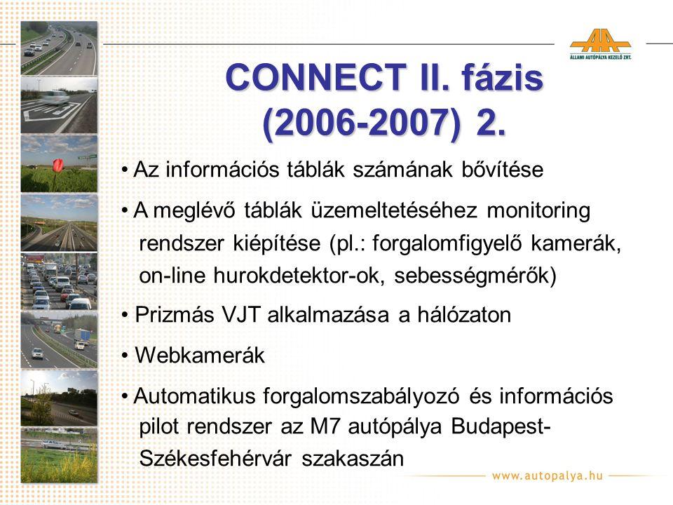 CONNECT II. fázis (2006-2007) 2. Az információs táblák számának bővítése A meglévő táblák üzemeltetéséhez monitoring rendszer kiépítése (pl.: forgalom