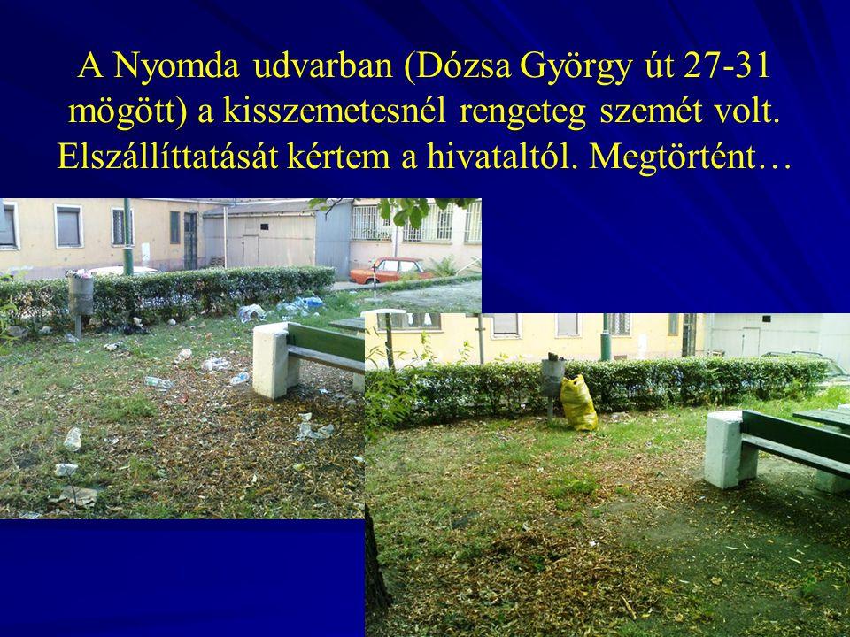 A Nyomda udvarban (Dózsa György út 27-31 mögött) a kisszemetesnél rengeteg szemét volt. Elszállíttatását kértem a hivataltól. Megtörtént…