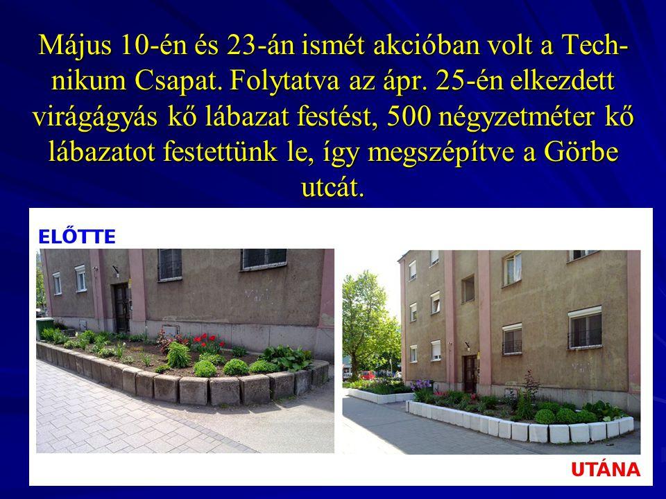 Május 10-én és 23-án ismét akcióban volt a Tech- nikum Csapat. Folytatva az ápr. 25-én elkezdett virágágyás kő lábazat festést, 500 négyzetméter kő lá