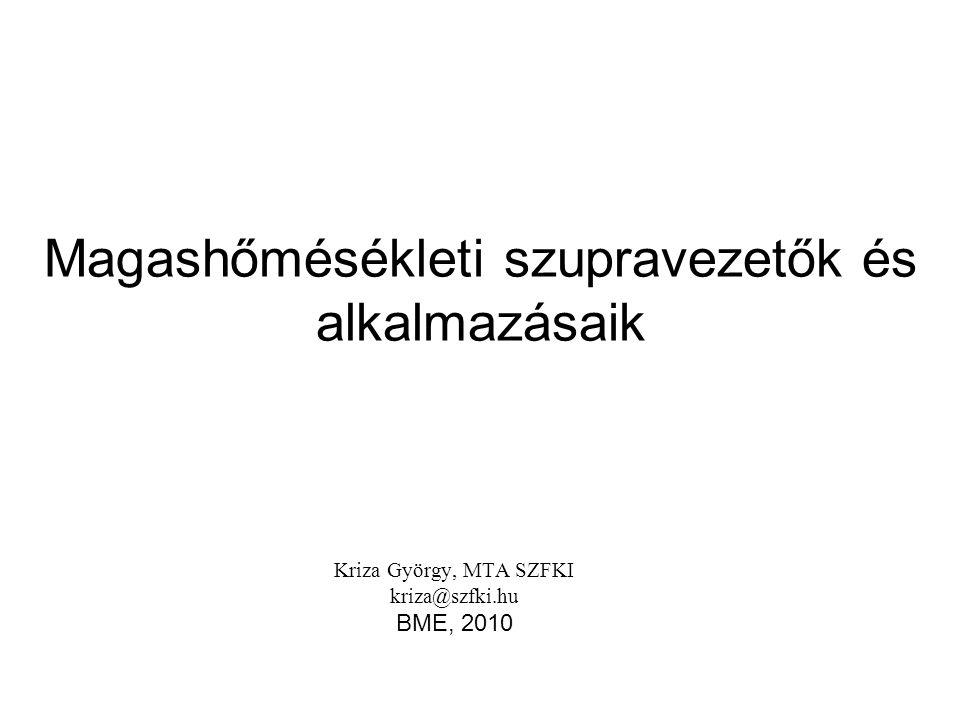 Magashőmésékleti szupravezetők és alkalmazásaik Kriza György, MTA SZFKI kriza@szfki.hu BME, 2010