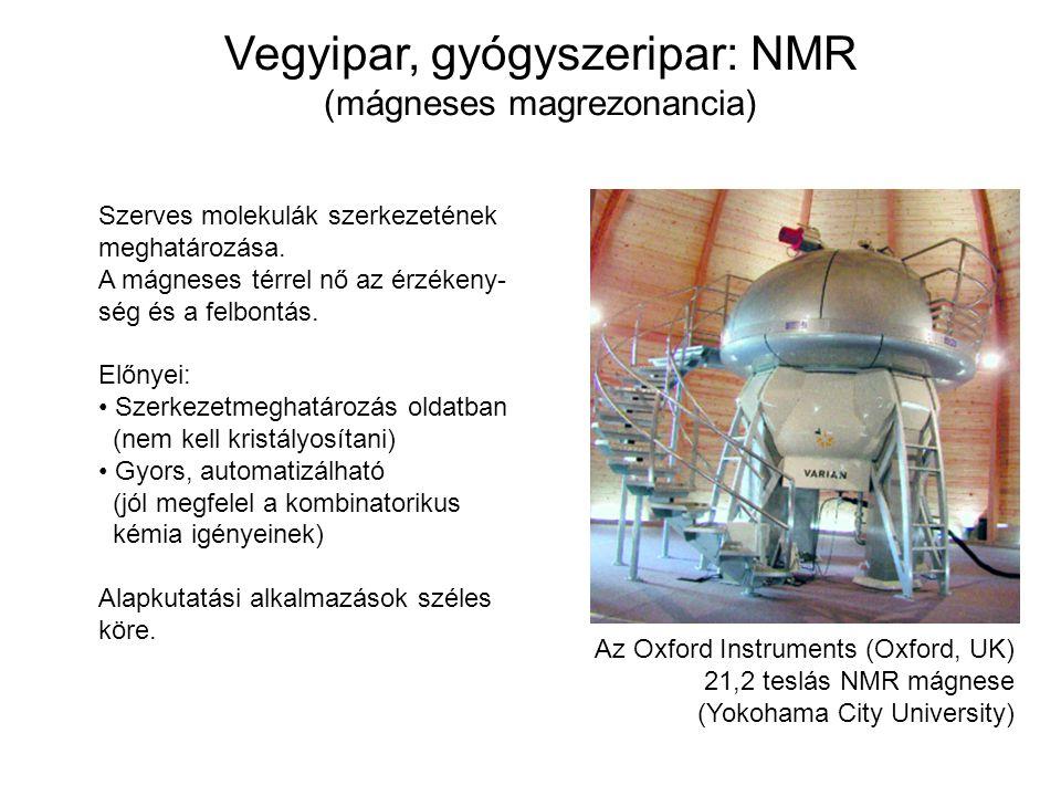 Vegyipar, gyógyszeripar: NMR (mágneses magrezonancia) Az Oxford Instruments (Oxford, UK) 21,2 teslás NMR mágnese (Yokohama City University) Szerves mo