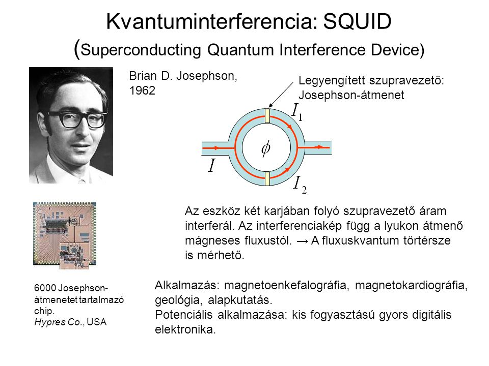 Kvantuminterferencia: SQUID ( Superconducting Quantum Interference Device) Brian D. Josephson, 1962 Legyengített szupravezető: Josephson-átmenet Az es