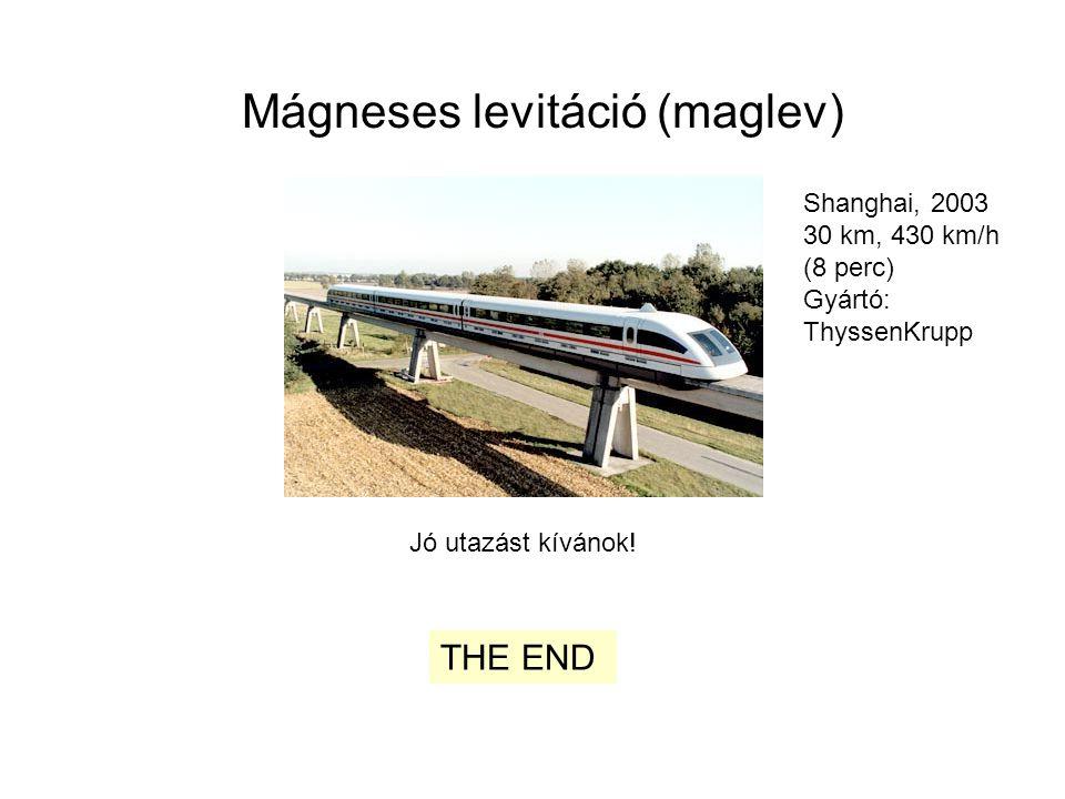 Mágneses levitáció (maglev) Jó utazást kívánok! THE END Shanghai, 2003 30 km, 430 km/h (8 perc) Gyártó: ThyssenKrupp