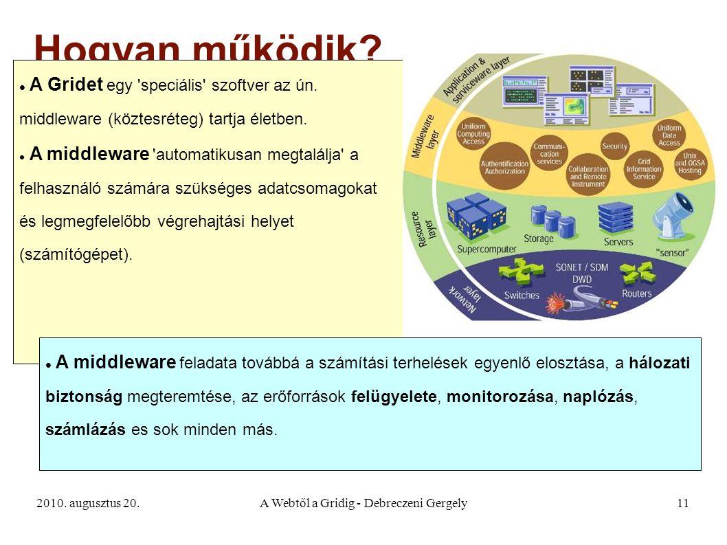 2010. augusztus 20.A Webtől a Gridig - Debreczeni Gergely11 Hogyan működik? A Gridet egy 'speciális' szoftver az ún. middleware (köztesréteg) tartja é