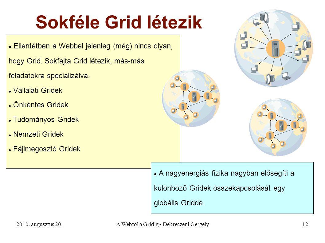 2010. augusztus 20.A Webtől a Gridig - Debreczeni Gergely12 Sokféle Grid létezik Ellentétben a Webbel jelenleg (még) nincs olyan, hogy Grid. Sokfajta