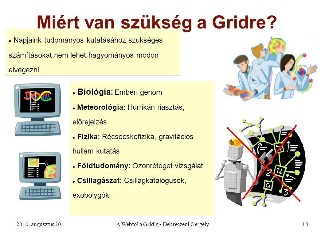 2010. augusztus 20.A Webtől a Gridig - Debreczeni Gergely13 Miért van szükség a Gridre? Napjaink tudományos kutatásához szükséges számításokat nem leh