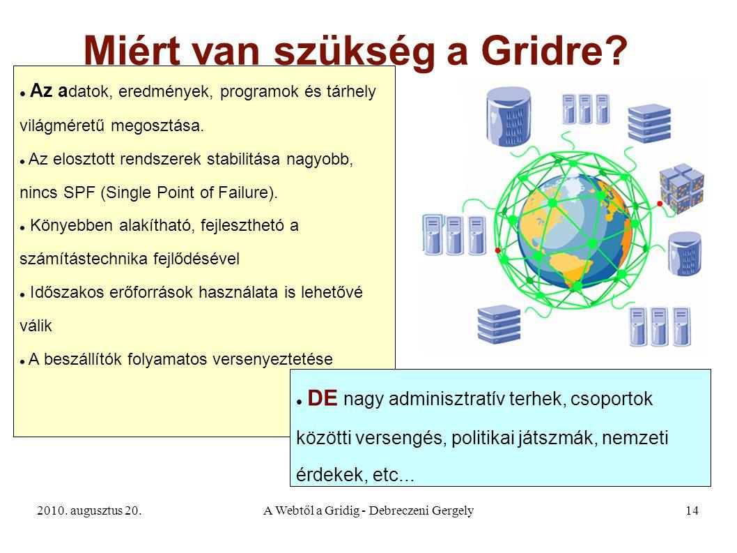 2010. augusztus 20.A Webtől a Gridig - Debreczeni Gergely14 Miért van szükség a Gridre? Az a datok, eredmények, programok és tárhely világméretű megos