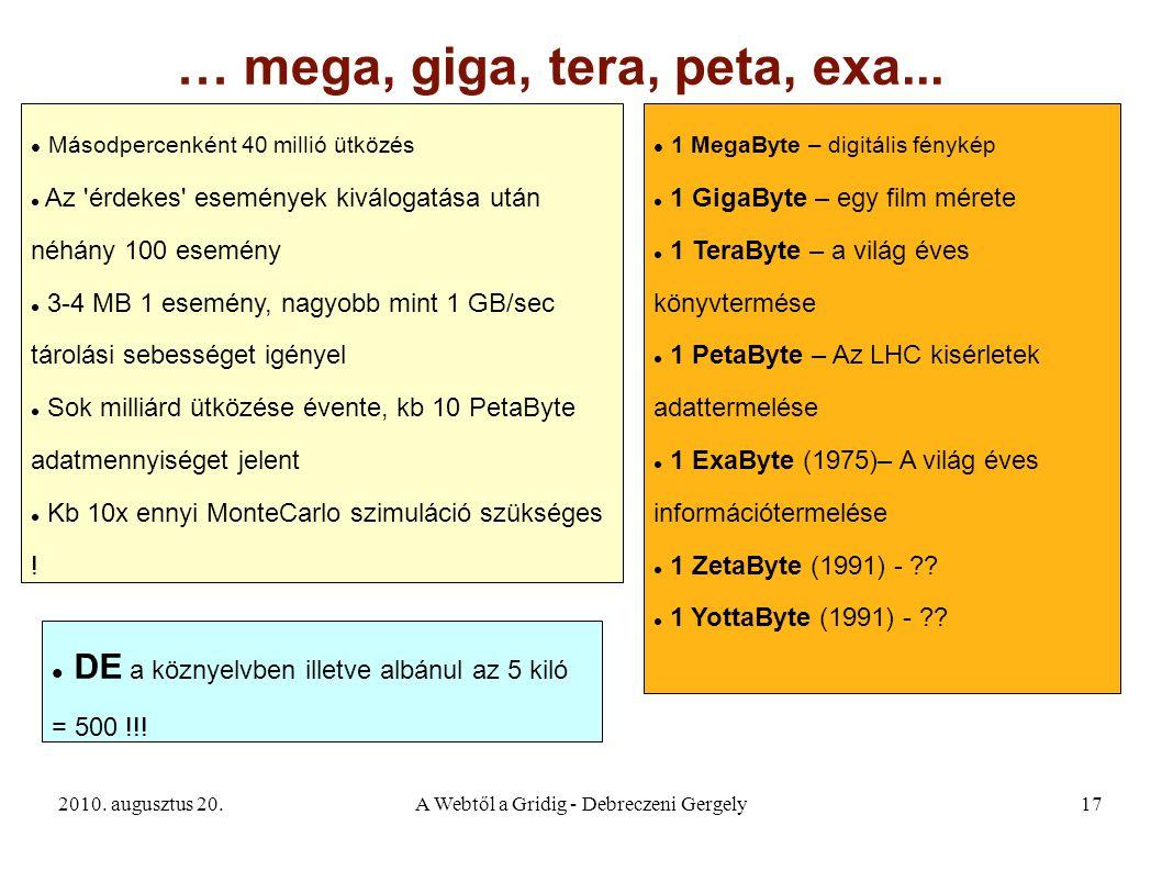 2010. augusztus 20.A Webtől a Gridig - Debreczeni Gergely17 … mega, giga, tera, peta, exa... Másodpercenként 40 millió ütközés Az 'érdekes' események