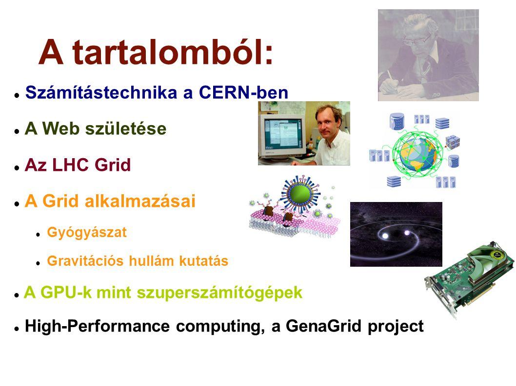 A tartalomból: Számítástechnika a CERN-ben A Web születése Az LHC Grid A Grid alkalmazásai Gyógyászat Gravitációs hullám kutatás A GPU-k mint szuperszámítógépek High-Performance computing, a GenaGrid project