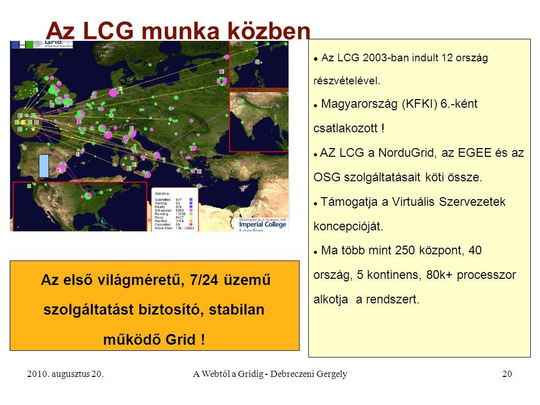 2010. augusztus 20.A Webtől a Gridig - Debreczeni Gergely20 Az LCG munka közben Az első világméretű, 7/24 üzemű szolgáltatást biztosító, stabilan műkö