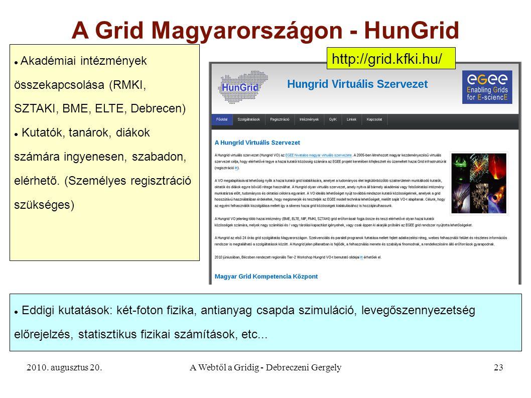 2010. augusztus 20.A Webtől a Gridig - Debreczeni Gergely23 A Grid Magyarországon - HunGrid Akadémiai intézmények összekapcsolása (RMKI, SZTAKI, BME,