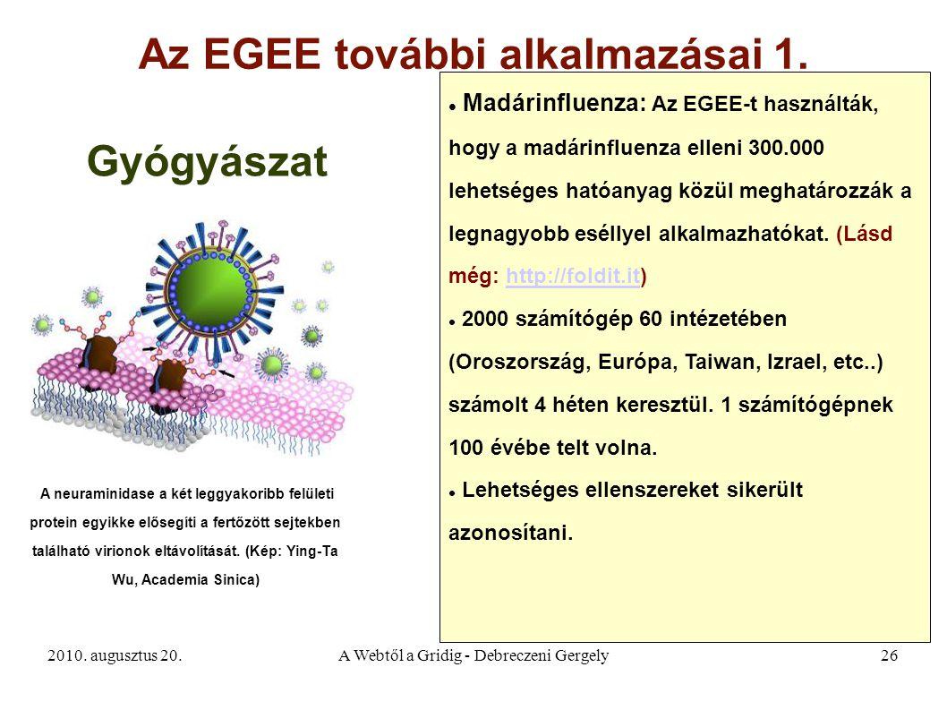 2010. augusztus 20.A Webtől a Gridig - Debreczeni Gergely26 Az EGEE további alkalmazásai 1. A neuraminidase a két leggyakoribb felületi protein egyikk