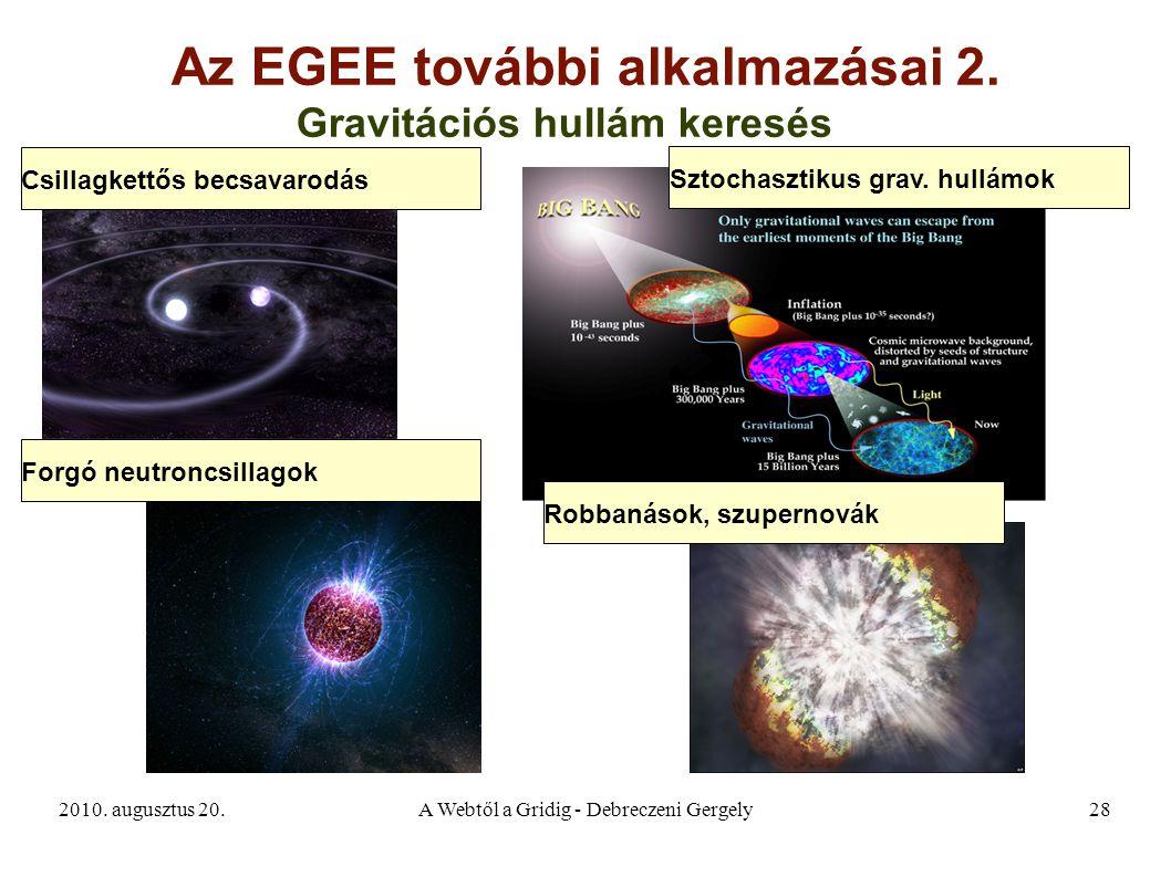 2010. augusztus 20.A Webtől a Gridig - Debreczeni Gergely28 Az EGEE további alkalmazásai 2. Gravitációs hullám keresés Csillagkettős becsavarodás Forg