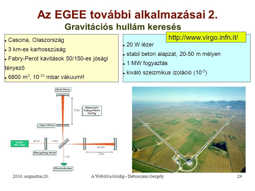 2010. augusztus 20.A Webtől a Gridig - Debreczeni Gergely29 Az EGEE további alkalmazásai 2. Gravitációs hullám keresés Cascina, Olaszország 3 km-es ka