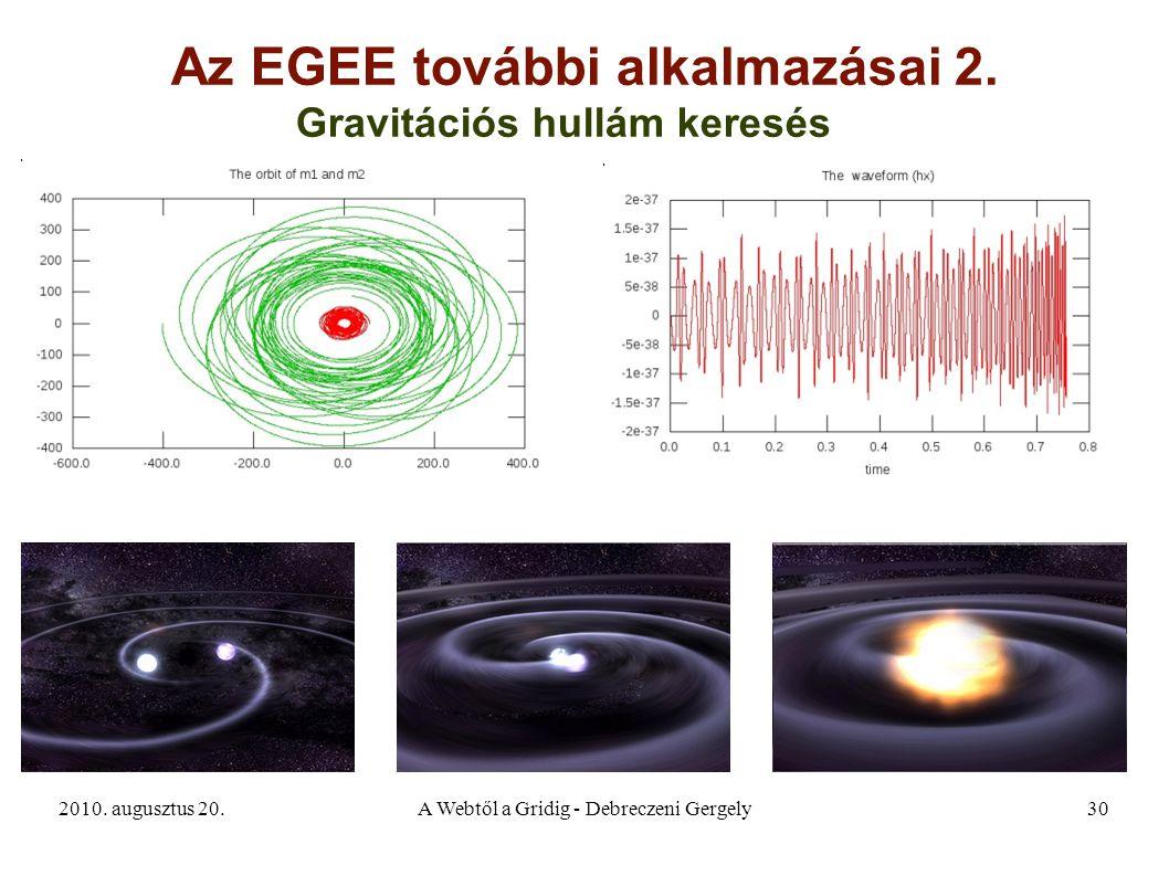 2010. augusztus 20.A Webtől a Gridig - Debreczeni Gergely30 Az EGEE további alkalmazásai 2. Gravitációs hullám keresés