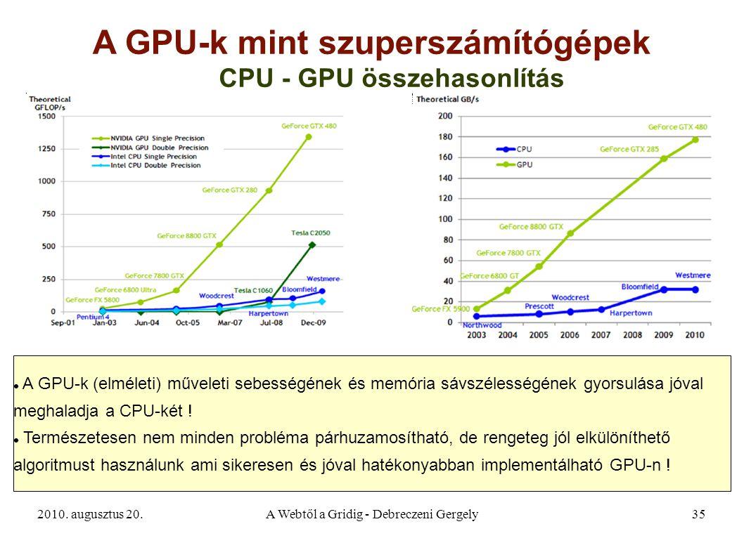2010. augusztus 20.A Webtől a Gridig - Debreczeni Gergely35 A GPU-k mint szuperszámítógépek A GPU-k (elméleti) műveleti sebességének és memória sávszé