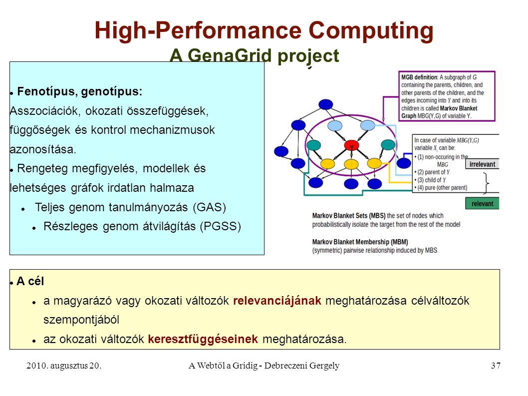 2010. augusztus 20.A Webtől a Gridig - Debreczeni Gergely37 High-Performance Computing A GenaGrid project Fenotípus, genotípus: Asszociációk, okozati