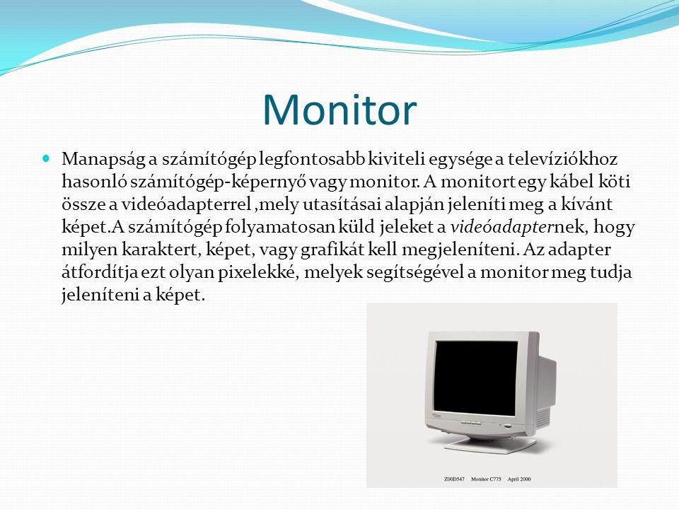 Monitor Manapság a számítógép legfontosabb kiviteli egysége a televíziókhoz hasonló számítógép-képernyő vagy monitor. A monitort egy kábel köti össze