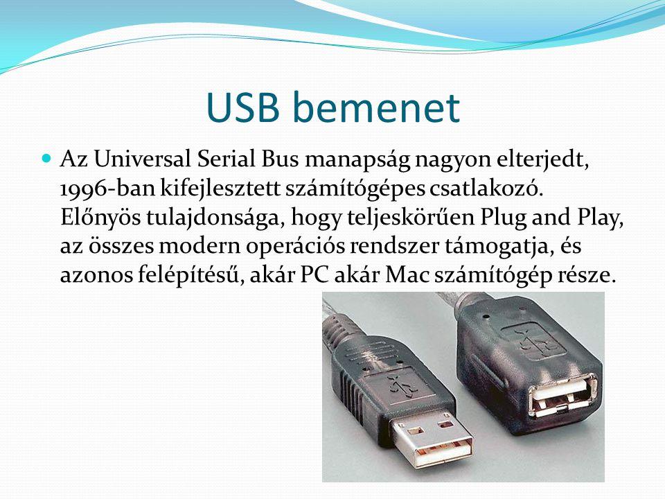 USB bemenet Az Universal Serial Bus manapság nagyon elterjedt, 1996-ban kifejlesztett számítógépes csatlakozó. Előnyös tulajdonsága, hogy teljeskörűen