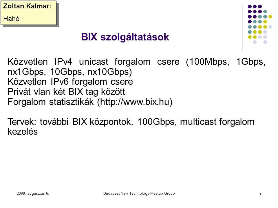 2008. augusztus 6.Budapest New Technology Meetup Group9 BIX szolgáltatások Zoltan Kalmar: Hahó Zoltan Kalmar: Hahó Közvetlen IPv4 unicast forgalom cse