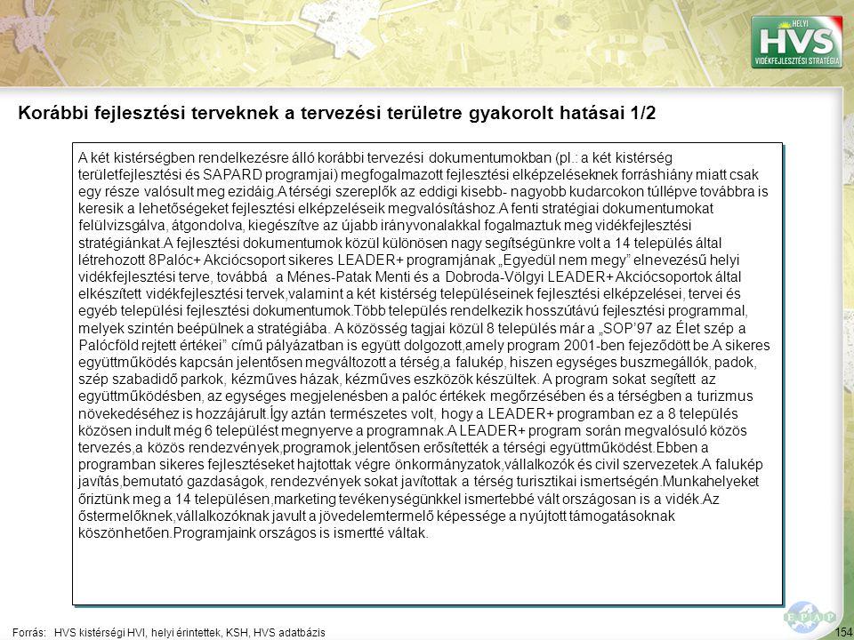 154 A két kistérségben rendelkezésre álló korábbi tervezési dokumentumokban (pl.: a két kistérség területfejlesztési és SAPARD programjai) megfogalmaz