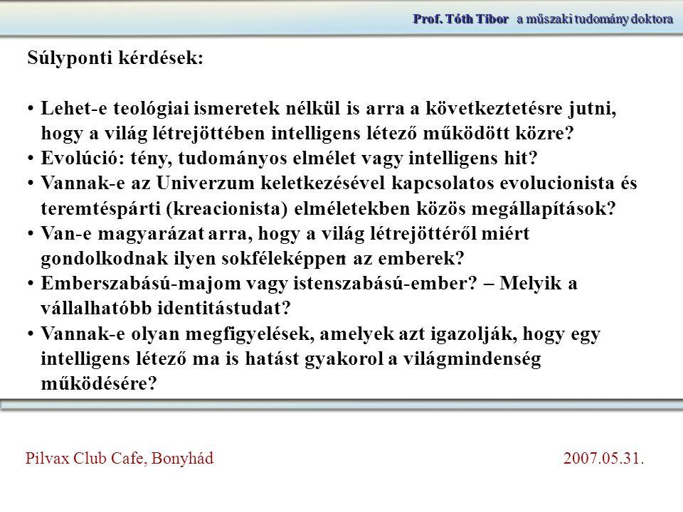 Prof. Tóth Tibora műszaki tudomány doktora Prof. Tóth Tibor a műszaki tudomány doktora Súlyponti kérdések: Lehet-e teológiai ismeretek nélkül is arra