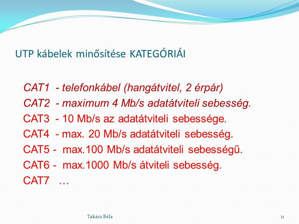 UTP kábelek minősítése KATEGÓRIÁI CAT1 - telefonkábel (hangátvitel, 2 érpár) CAT2 - maximum 4 Mb/s adatátviteli sebesség. CAT3- 10 Mb/s az adatátvitel