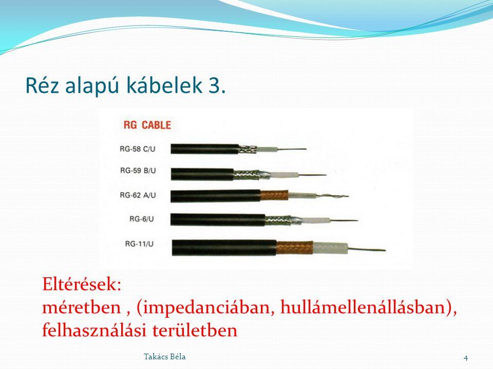 Réz alapú kábelek 3. 4Takács Béla Eltérések: méretben, (impedanciában, hullámellenállásban), felhasználási területben