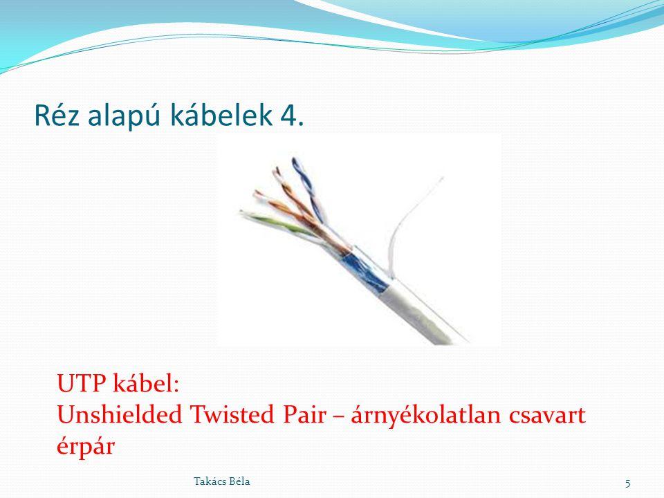 Réz alapú kábelek 4. 5Takács Béla UTP kábel: Unshielded Twisted Pair – árnyékolatlan csavart érpár