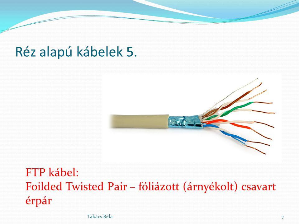 Réz alapú kábelek 5. 7Takács Béla FTP kábel: Foilded Twisted Pair – fóliázott (árnyékolt) csavart érpár
