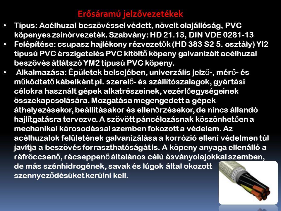 Típus: Acélhuzal beszövéssel védett, növelt olajállóság, PVC köpenyes zsinórvezeték.
