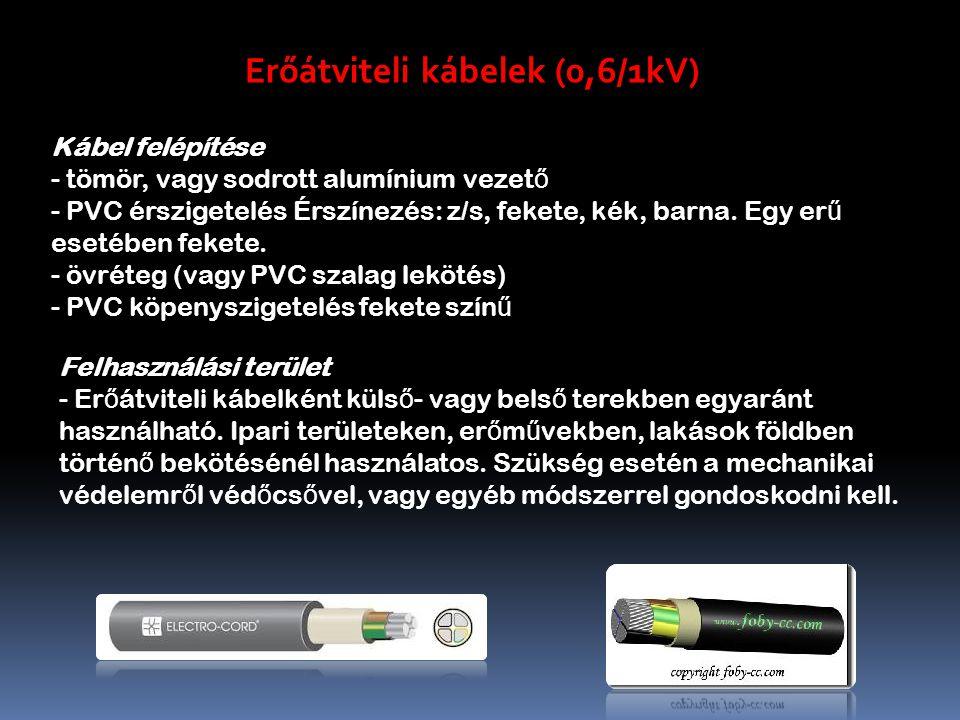 Erőátviteli kábelek (0,6/1kV) Kábel felépítése - tömör, vagy sodrott alumínium vezet ő - PVC érszigetelés Érszínezés: z/s, fekete, kék, barna.