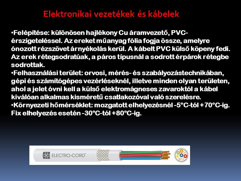 Elektronikai vezetékek és kábelek Felépítése: különösen hajlékony Cu áramvezet ő, PVC- érszigeteléssel.