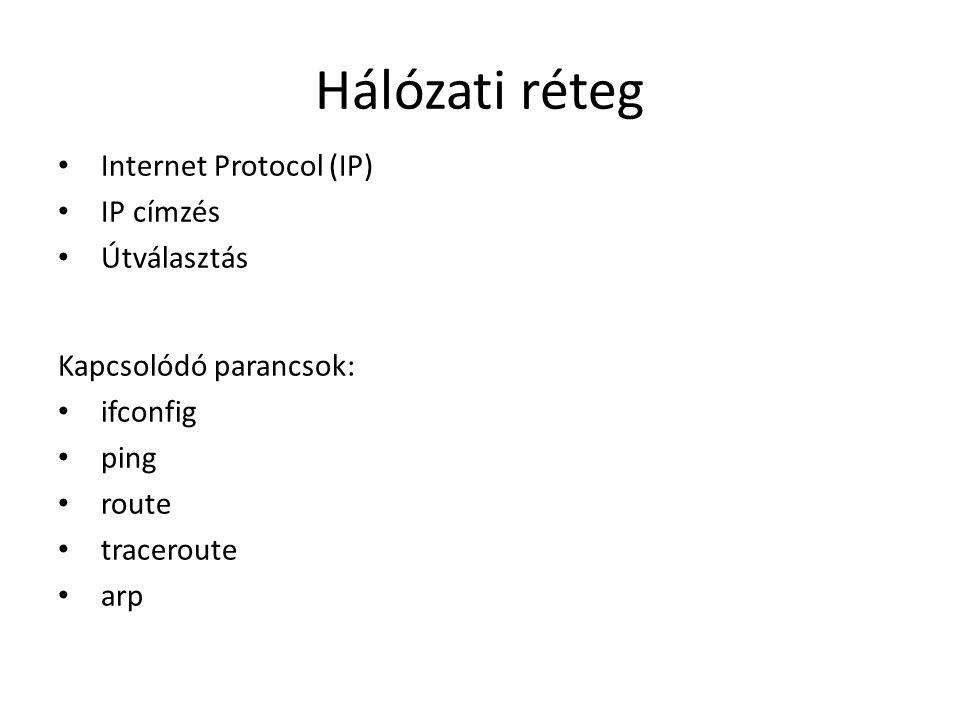 Hálózati réteg Internet Protocol (IP) IP címzés Útválasztás Kapcsolódó parancsok: ifconfig ping route traceroute arp